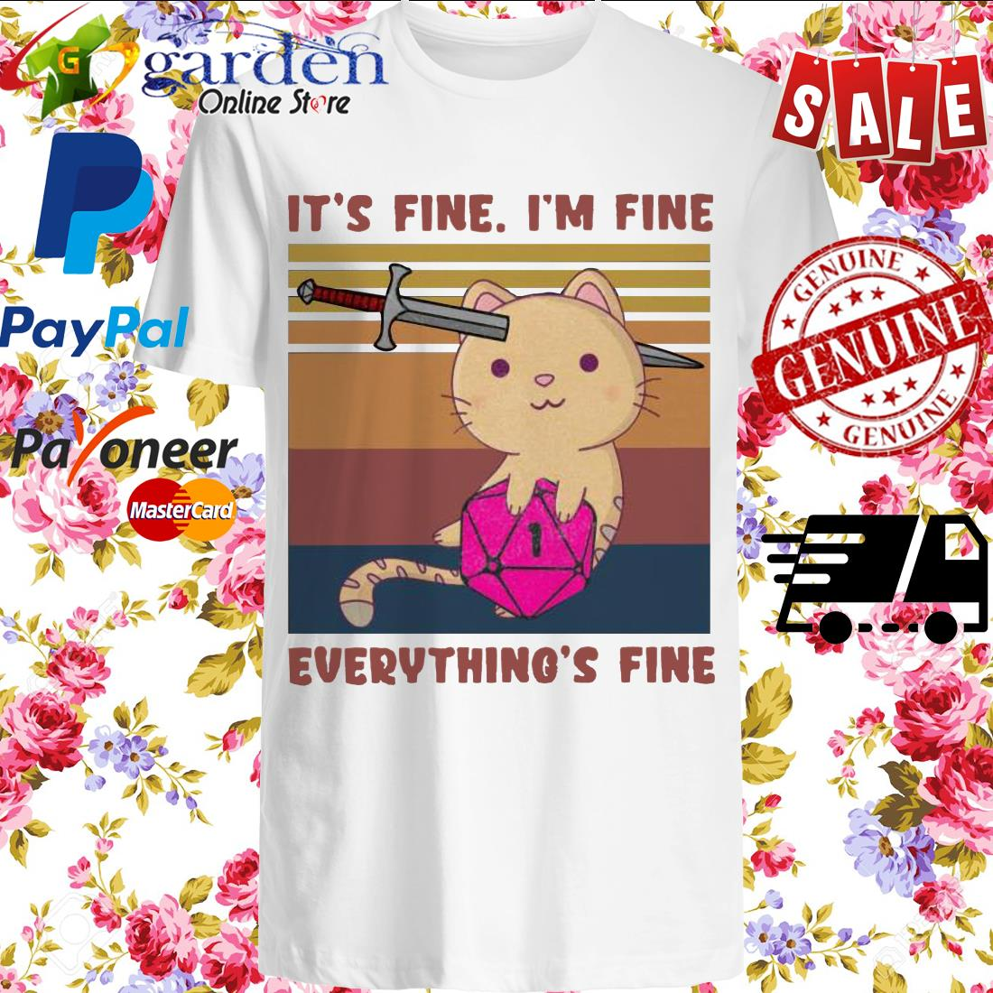 Dungeon Meowster It's Fine I'm Fine Everything Fine Vintage Shirt