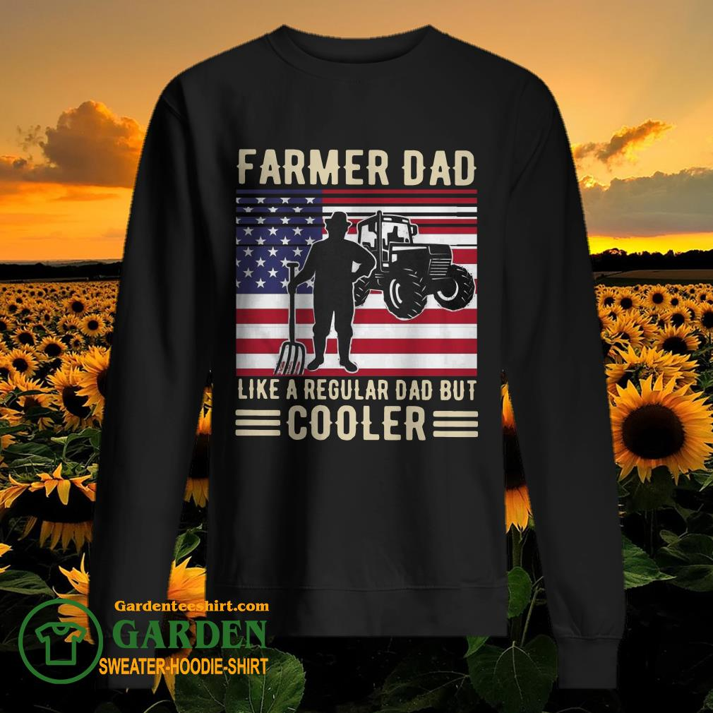 Farmer Dad Like A Regular Dad But Cooler American Flag sweater