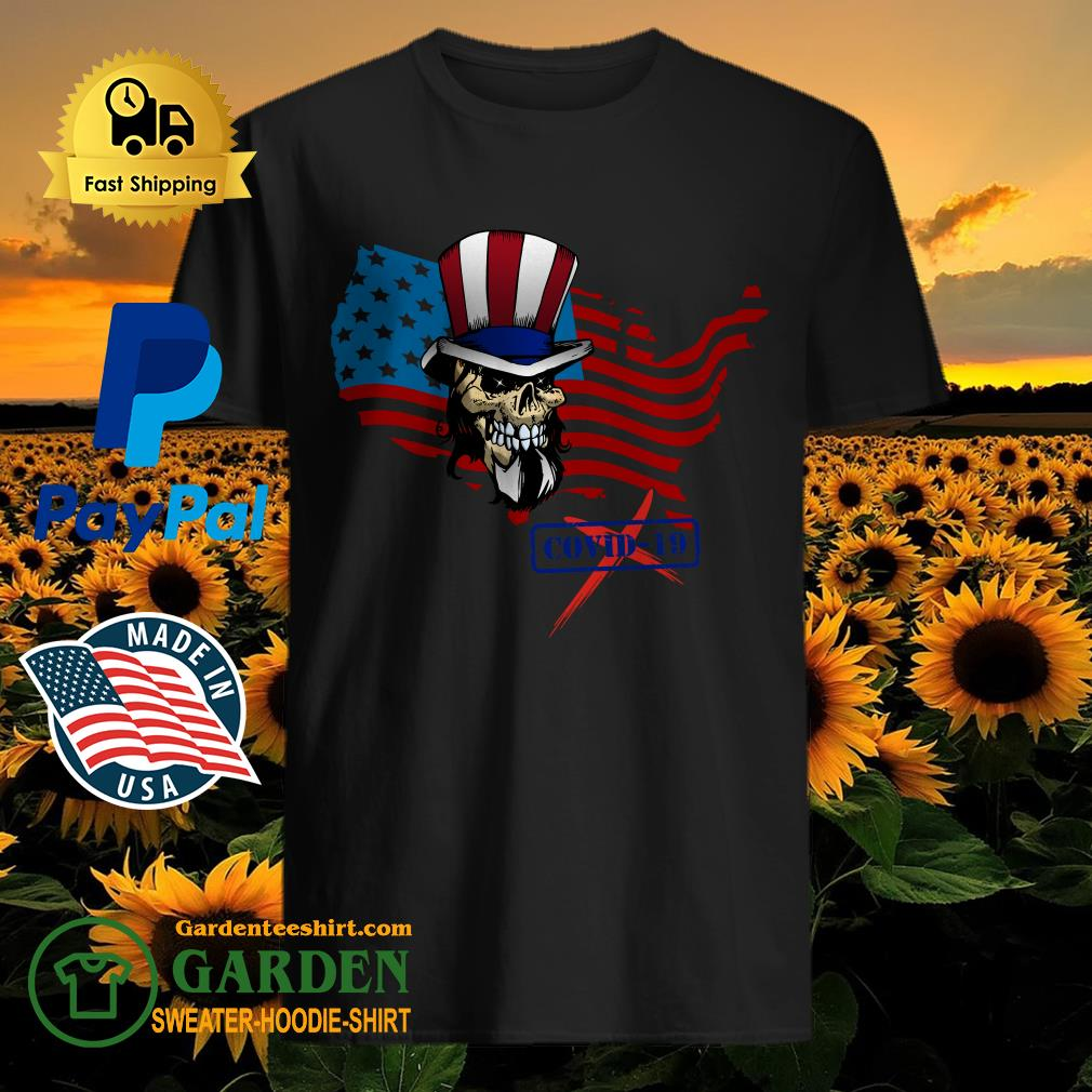 flag American skull stop covid-19 shirt