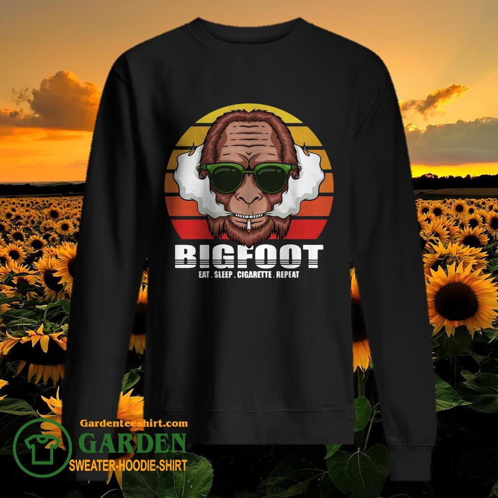 Funny Bigfoot Eat Sleep Cigarette Repeat Vintage sweater