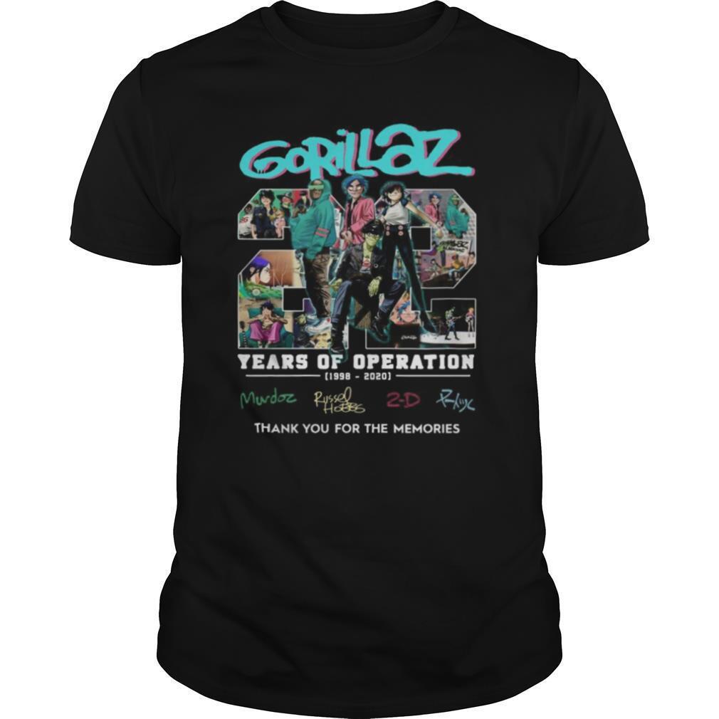 Gorillaz 22 Years Of Operation 1998 2020 shirt