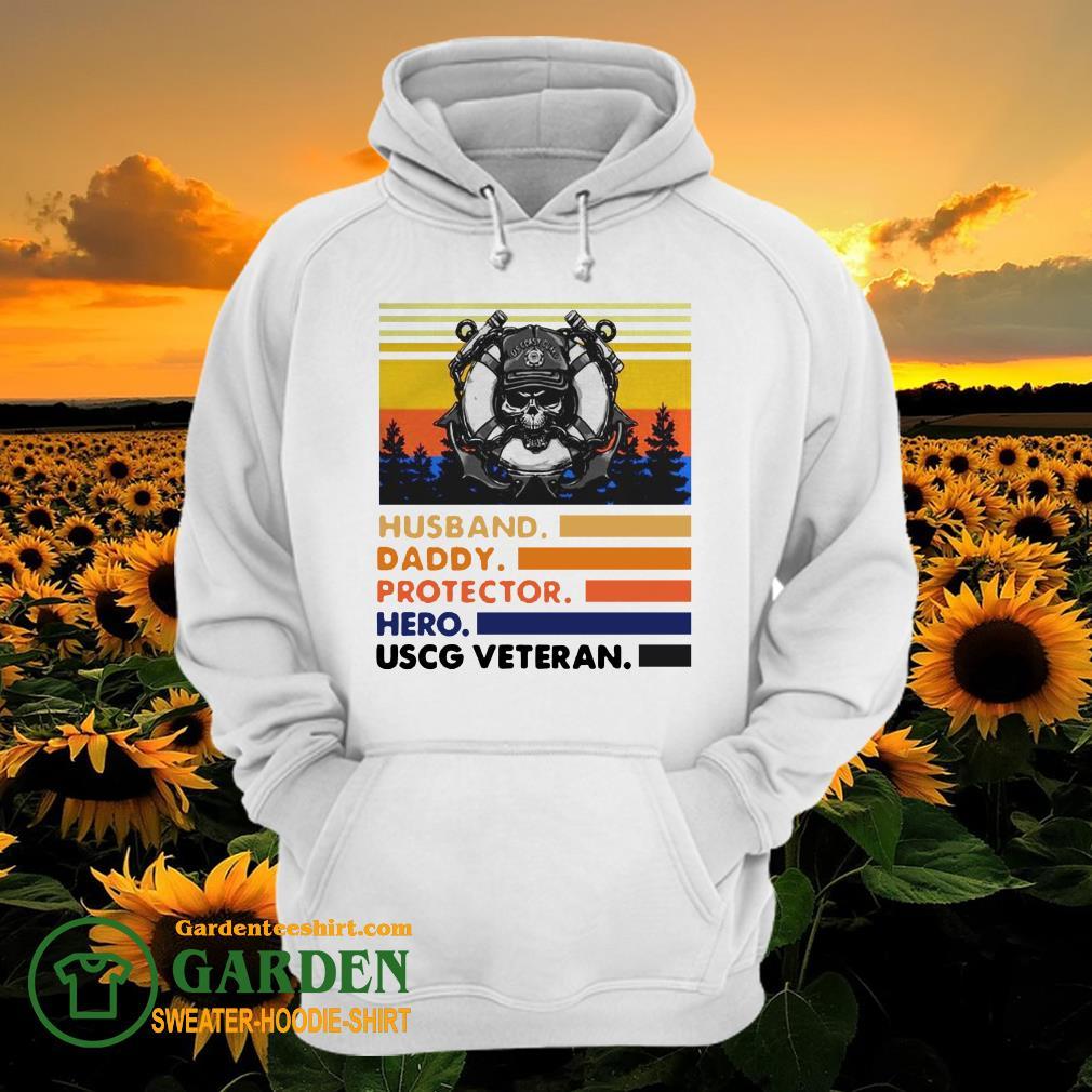 Husband Daddy Protector Hero USCG Veteran Vintage hoodie