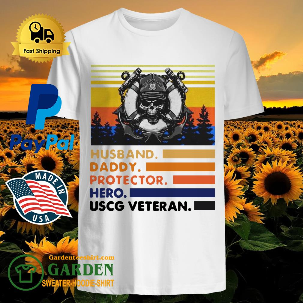 Husband Daddy Protector Hero USCG Veteran Vintage Shirt