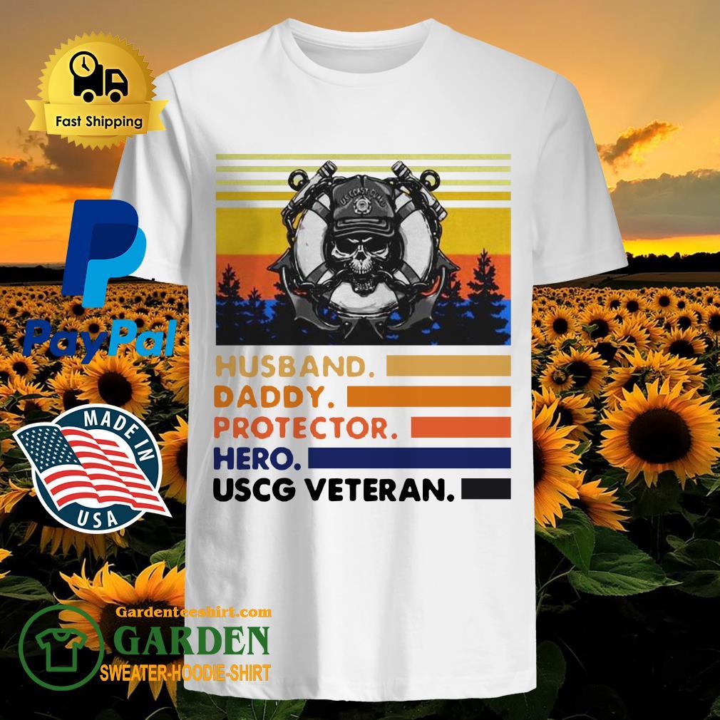 Husband Daddy Protector Hero USCG Veteran Vintage Shirt