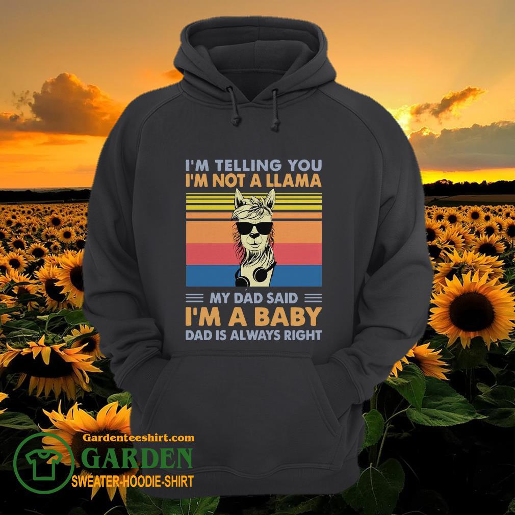 I'm telling you I'm not a Llama my dad said I'm a baby dad is always right vintage hoodie