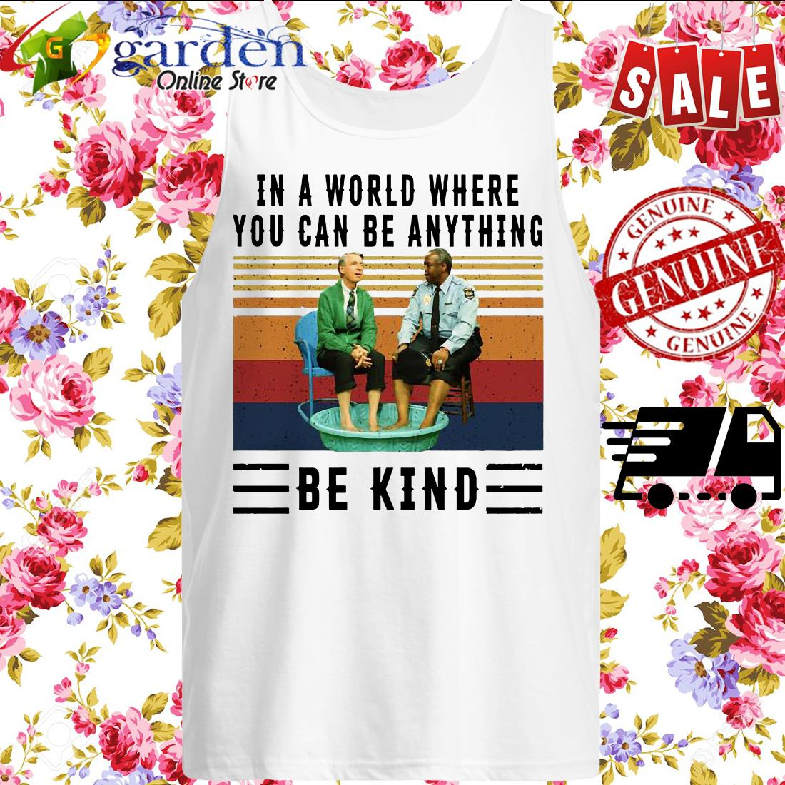 In a world where you can be anything be kind Kiddie Pool and Mr. Rogers vintage tank top