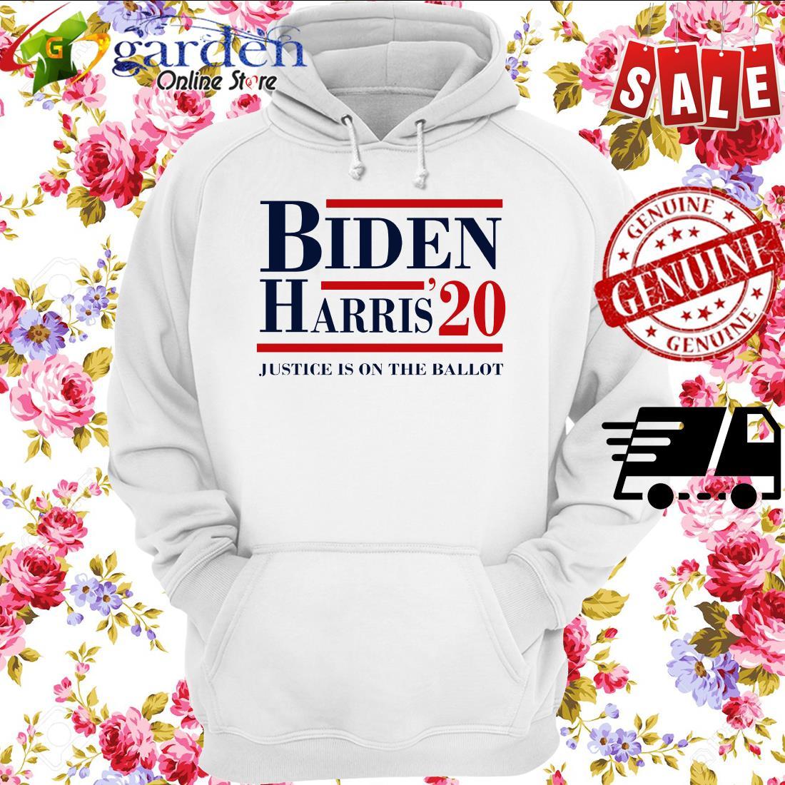 Joe Biden Kamala Harris 2020 justice is on the ballot hoodie