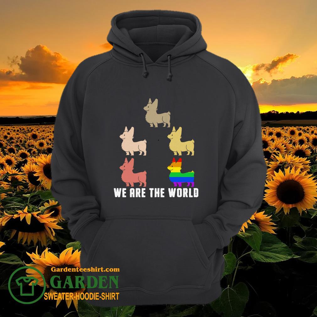 Lgbt corgi we are the world hoodie