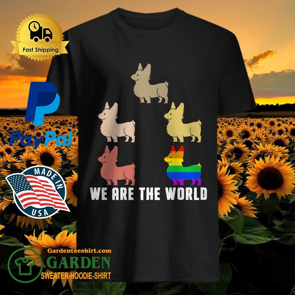 Lgbt corgi we are the world shirt