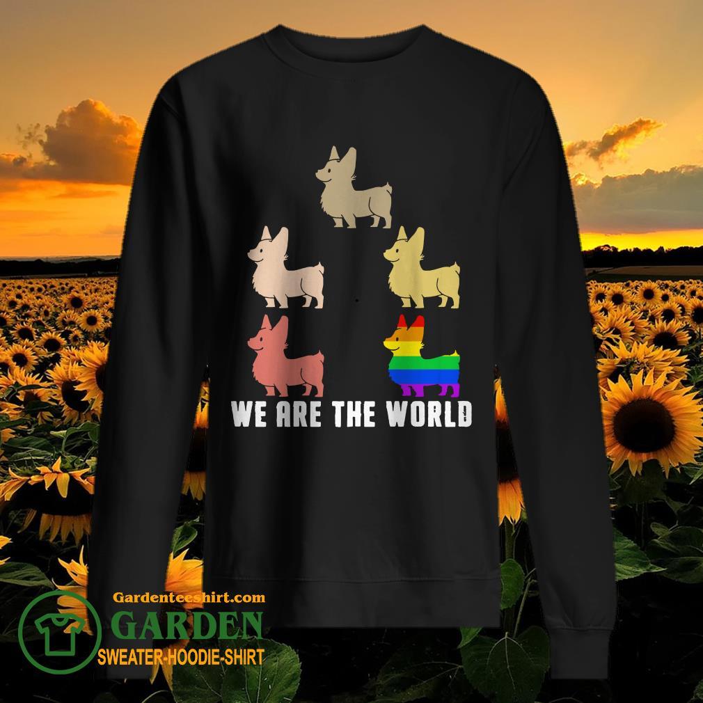 Lgbt corgi we are the world sweater