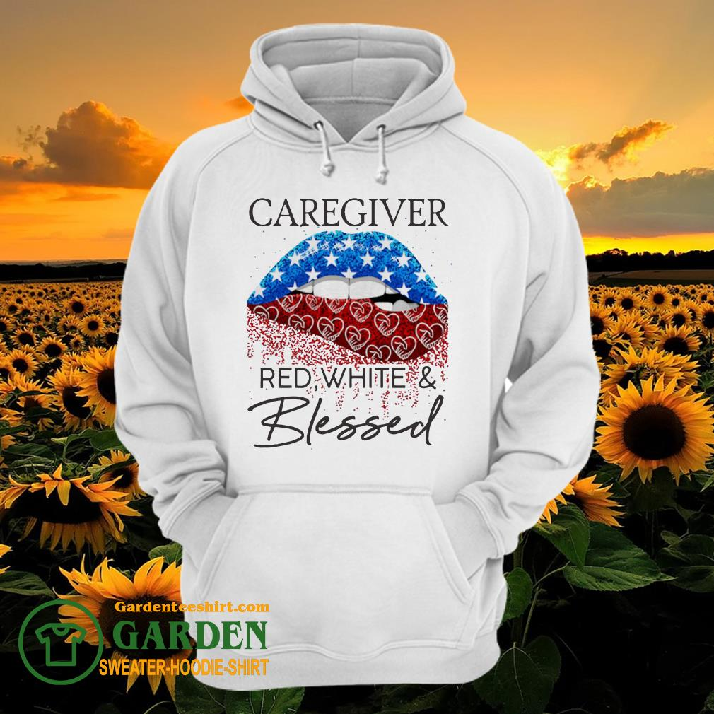 Lip Caregiver red white and blessed diamond hoodie