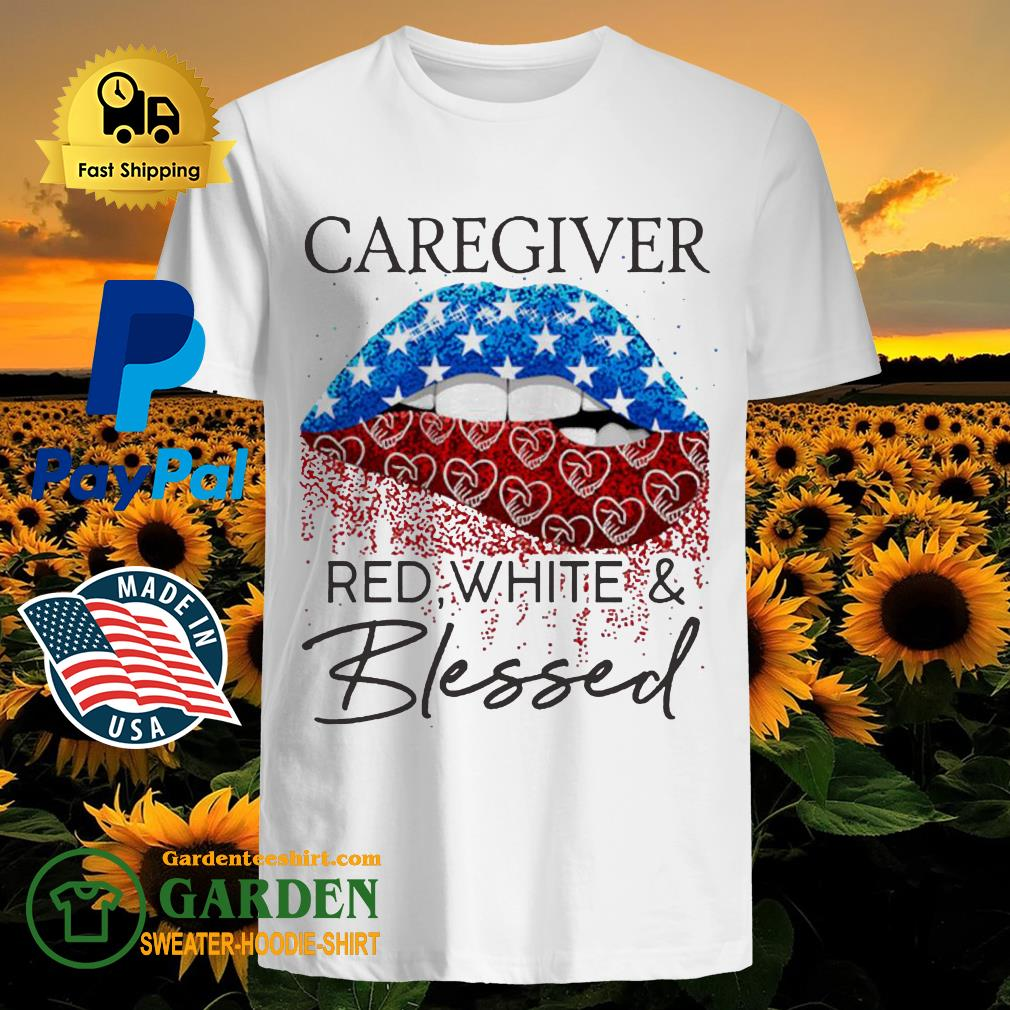 Lip Caregiver red white and blessed diamond shirt
