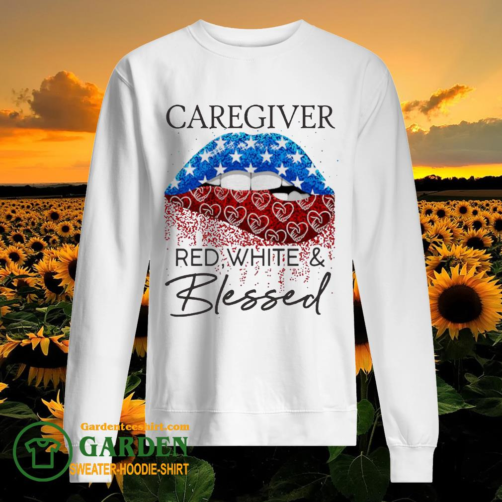 Lip Caregiver red white and blessed diamond sweater