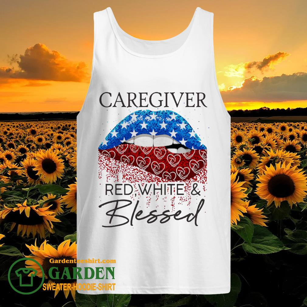 Lip Caregiver red white and blessed diamond tank top