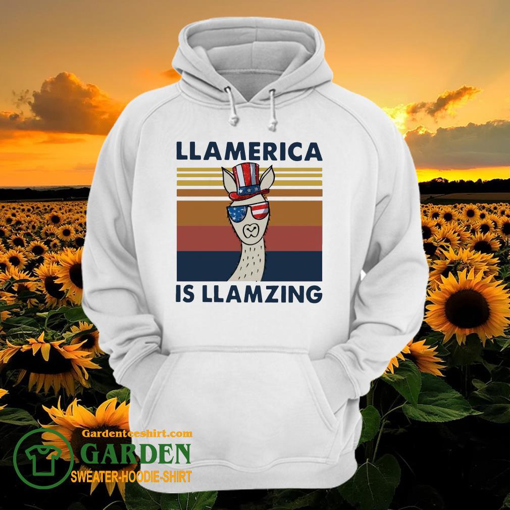 Llama Llalmerica Is Llamzing American Flag Vintage hoodie