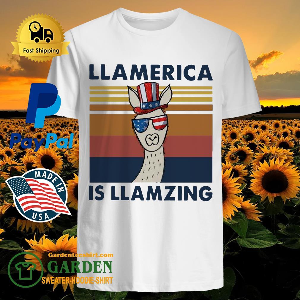 Llama Llalmerica Is Llamzing American Flag Vintage Shirt