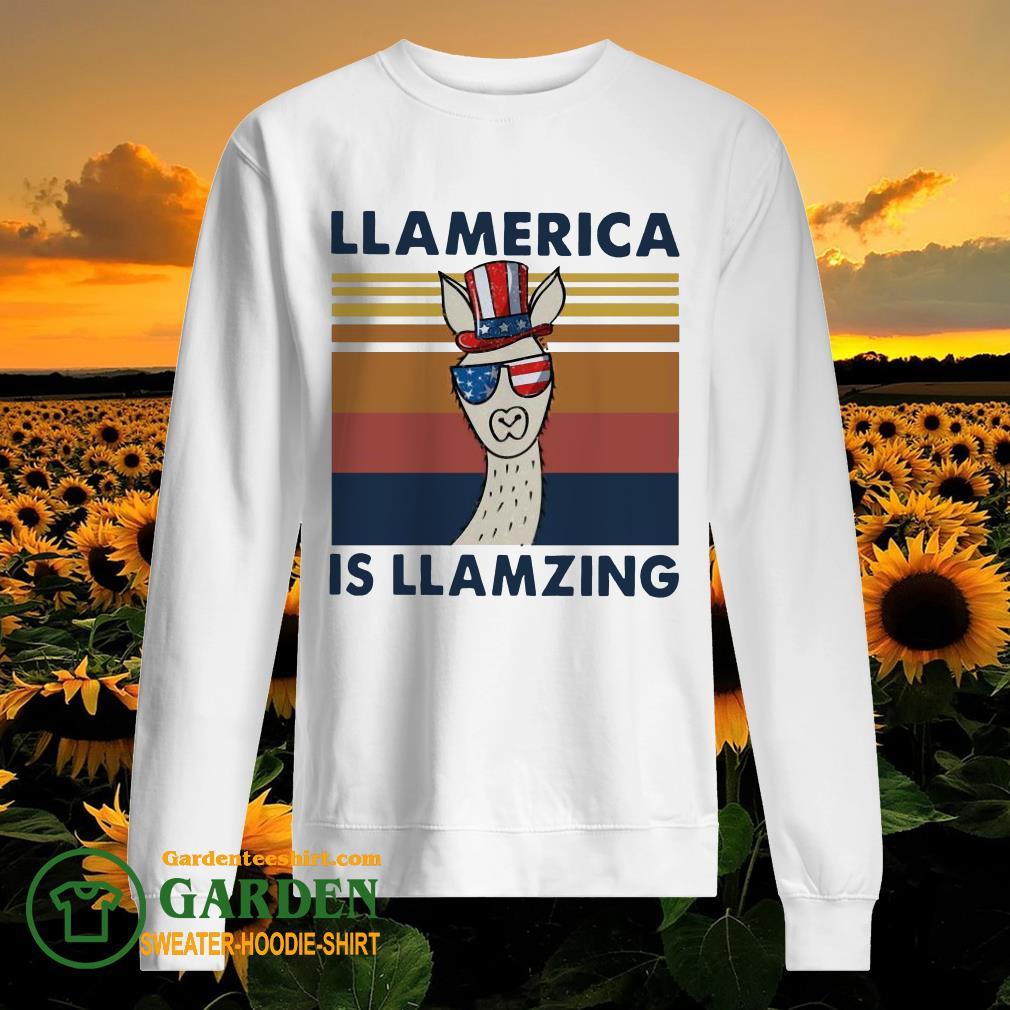 Llama Llalmerica Is Llamzing American Flag Vintage sweater