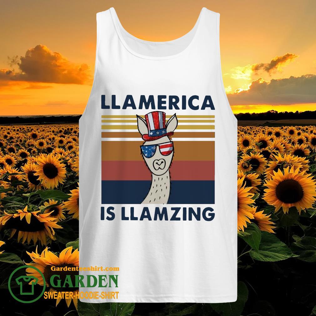 Llama Llalmerica Is Llamzing American Flag Vintage tank top