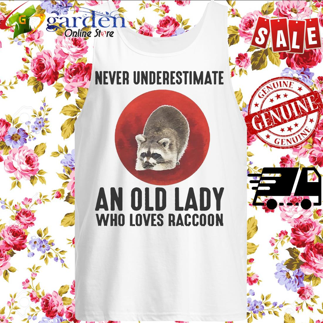 Never Underestimate An Old Lady Who Loves Raccoon Blood Moon tank top