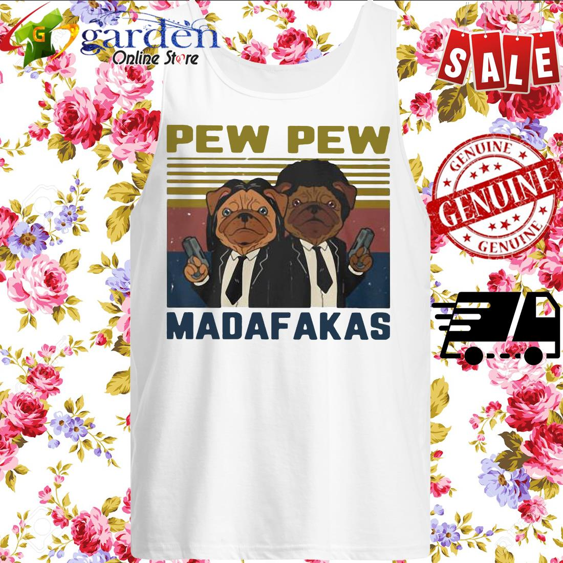 Pew Pew Madafakas Pug Dog Parody Vintage tank top