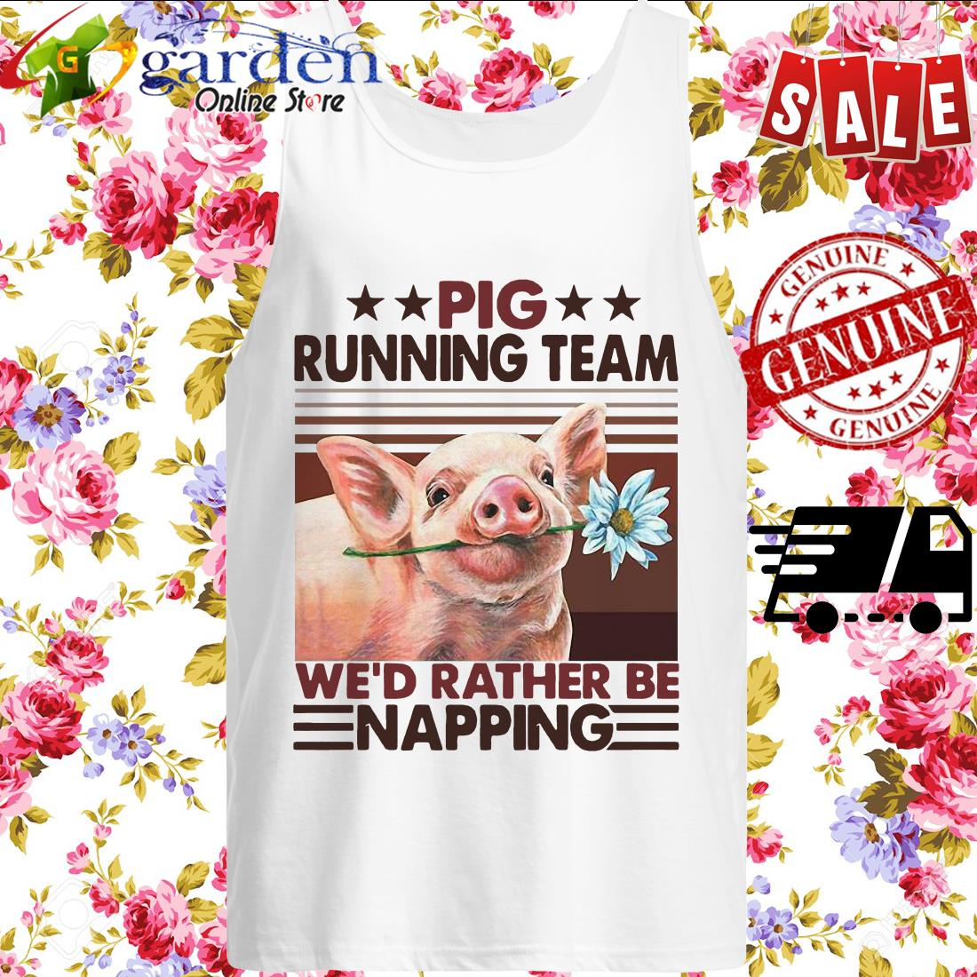 Pig Running Team We'd Rather Be Napping Vintage tank top