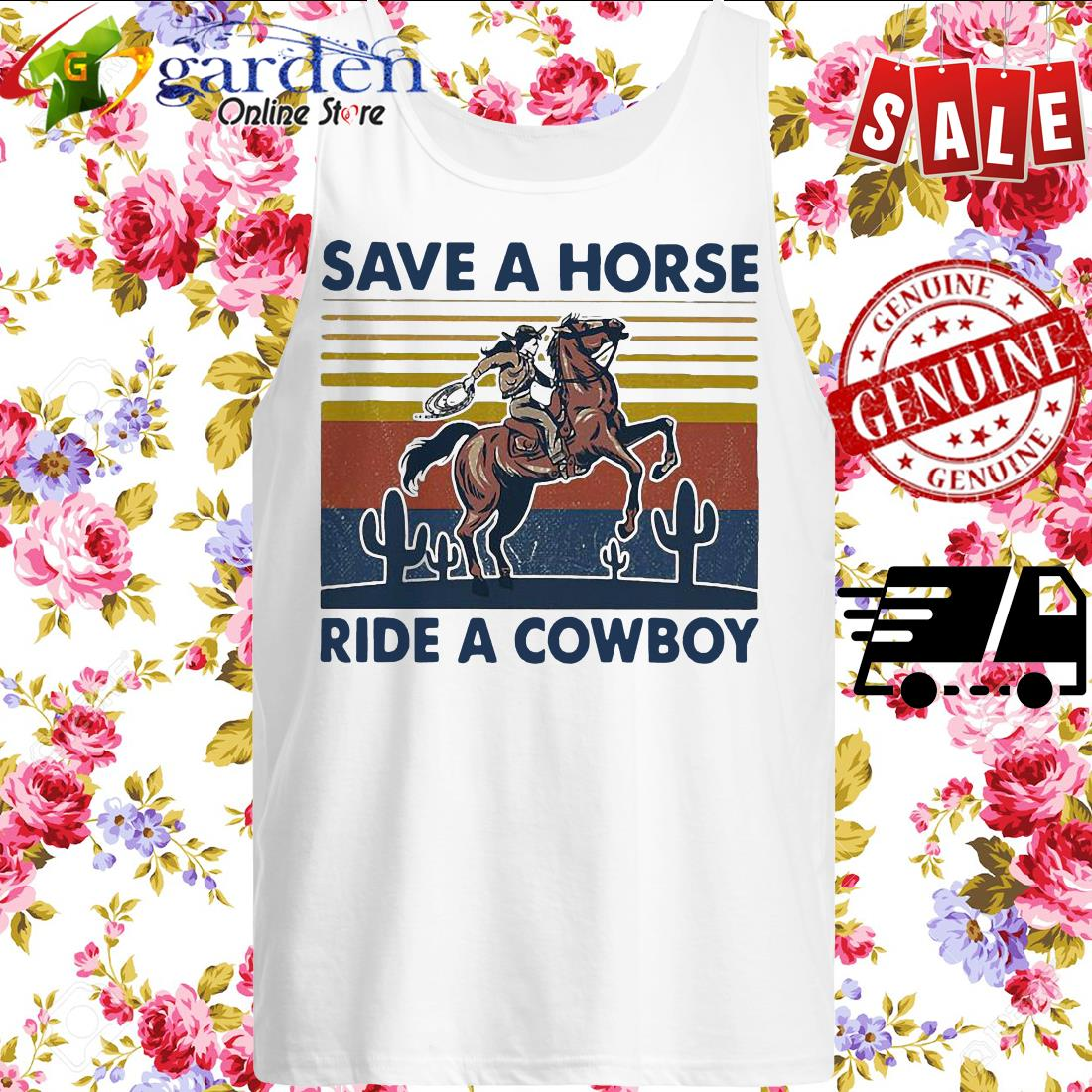 Save a horse ride a cowboy vintage tank top