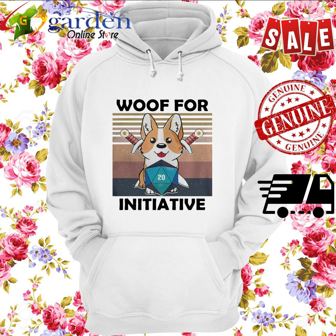 Woof For Initiative Corgi D20 RPG Gamer Vintage hoodie