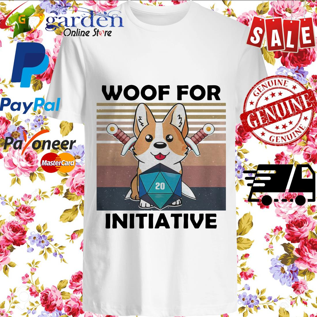 Woof For Initiative Corgi D20 RPG Gamer Vintage shirt