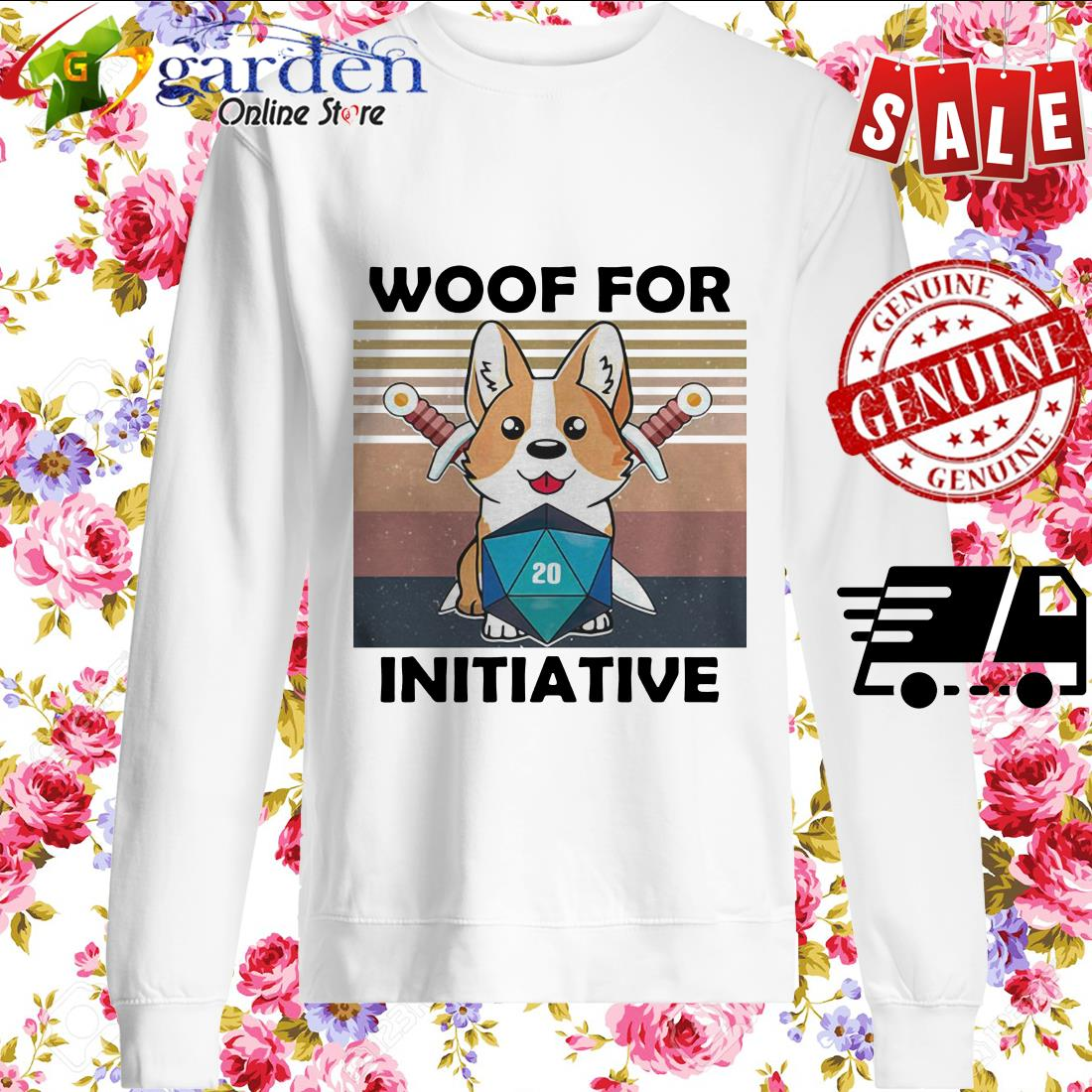 Woof For Initiative Corgi D20 RPG Gamer Vintage sweater