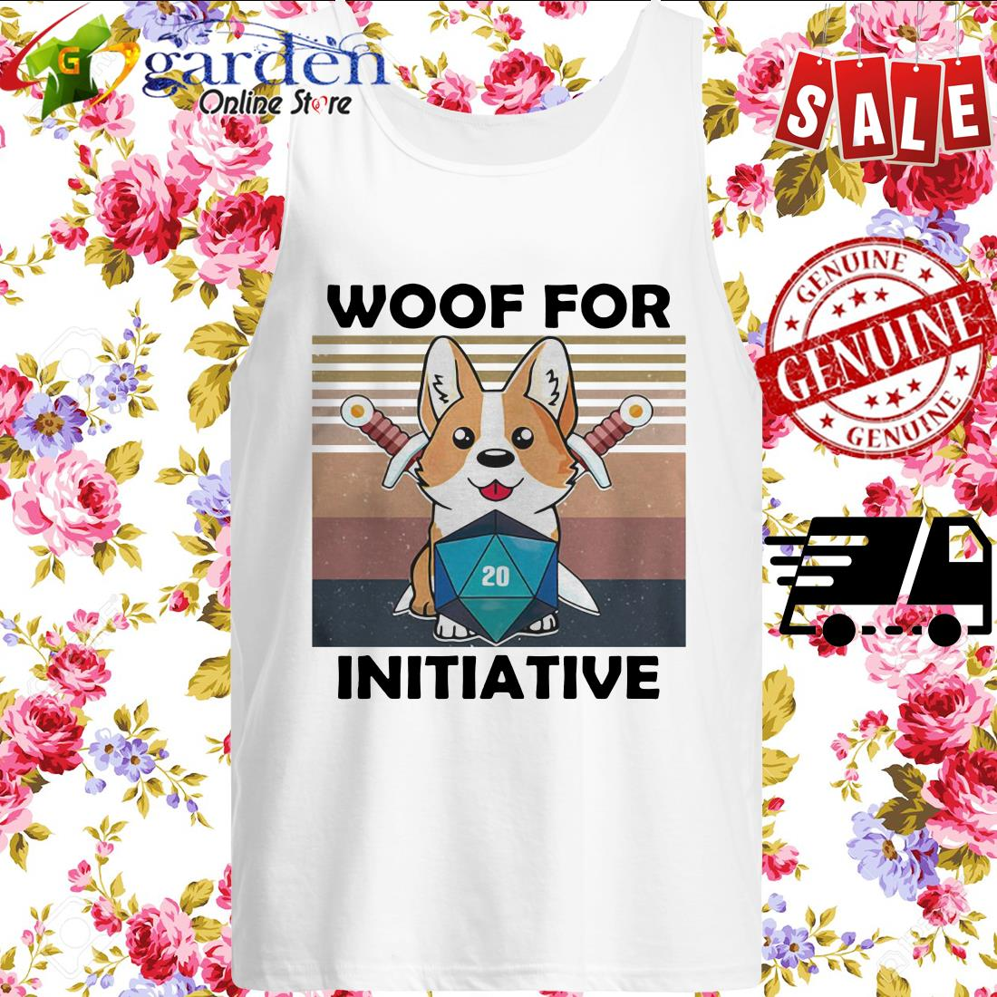 Woof For Initiative Corgi D20 RPG Gamer Vintage tank top