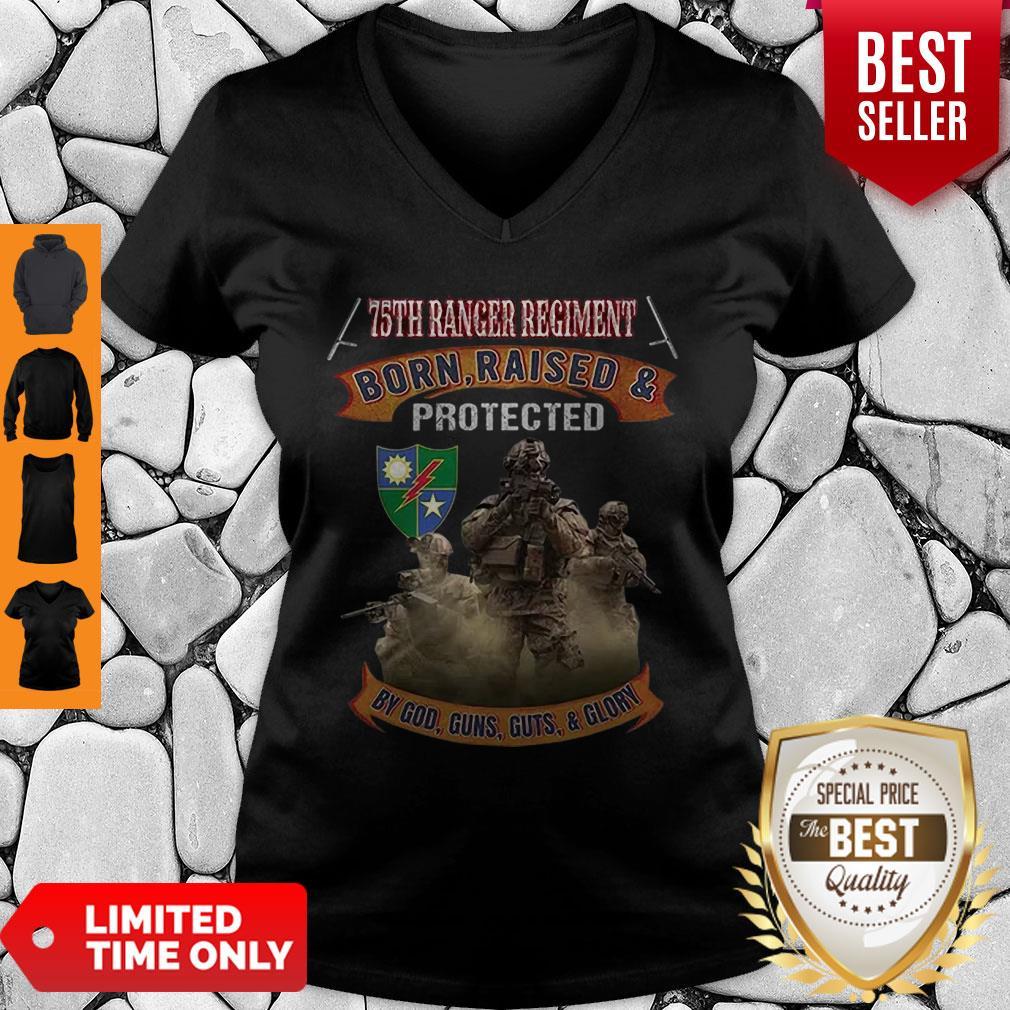 75th Ranger Regiment Born Raised And Protected By God Guns V-neck