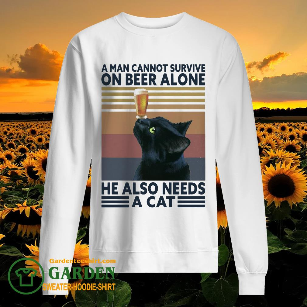 A man cannot survive on Beer alone he also needs a Cat vintage sweater