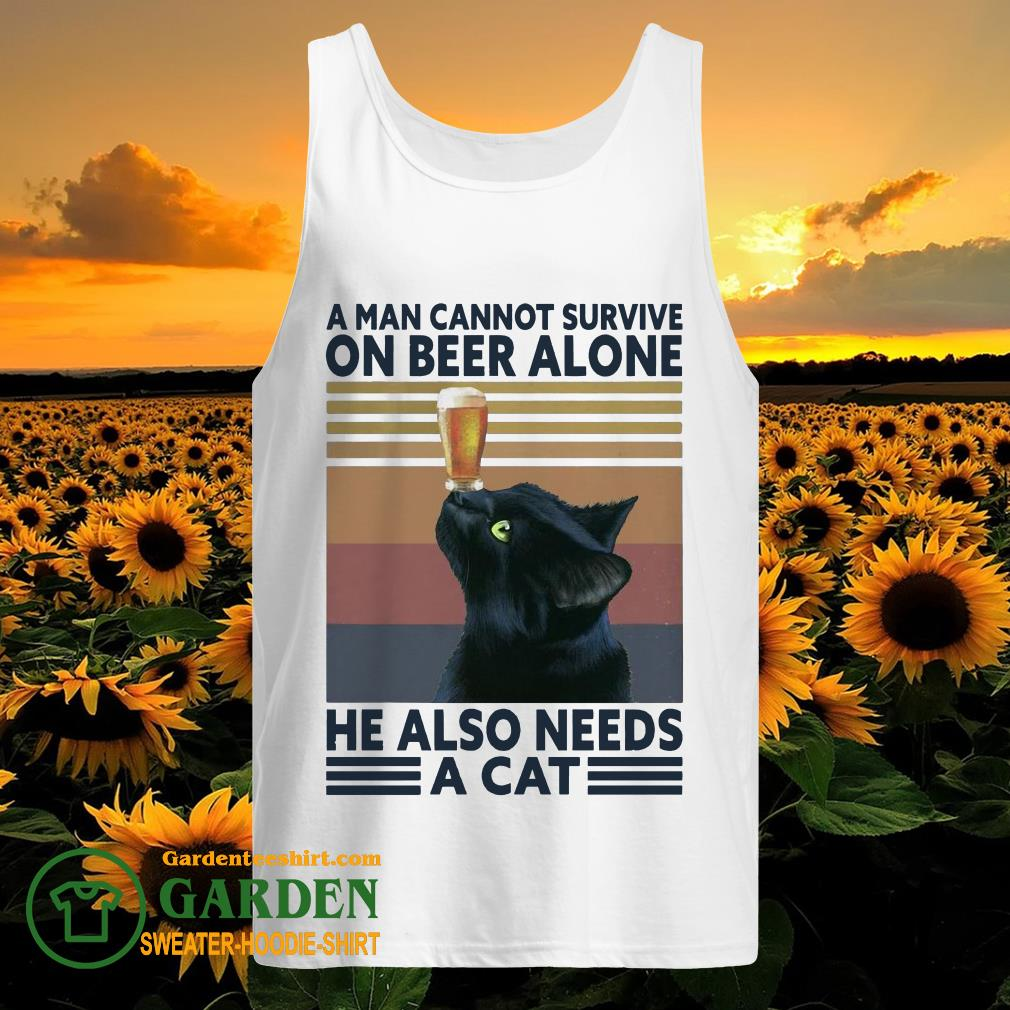 A man cannot survive on Beer alone he also needs a Cat vintage tank top