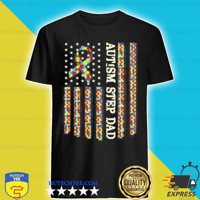 Autism awareness proud autism step dad us flag shirt