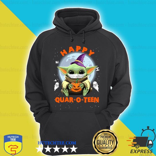 Baby yoda face mask hug pumpkin happy quarantine Quar-O-Teen s hoodie