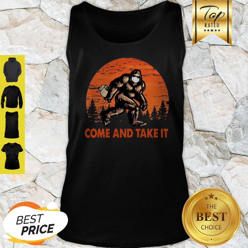 Bigfoot Sasquatch Come And Take It Sunset Toilet Paper Tank Top
