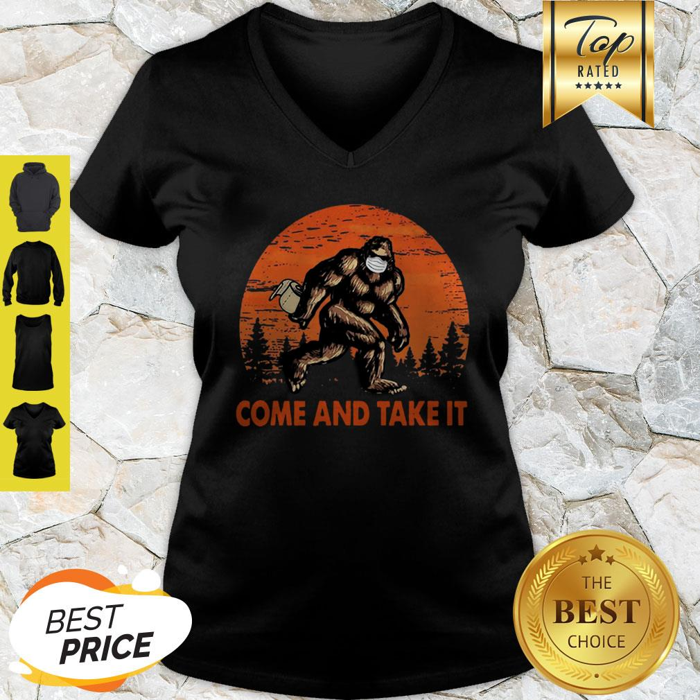 Bigfoot Sasquatch Come And Take It Sunset Toilet Paper V-neck
