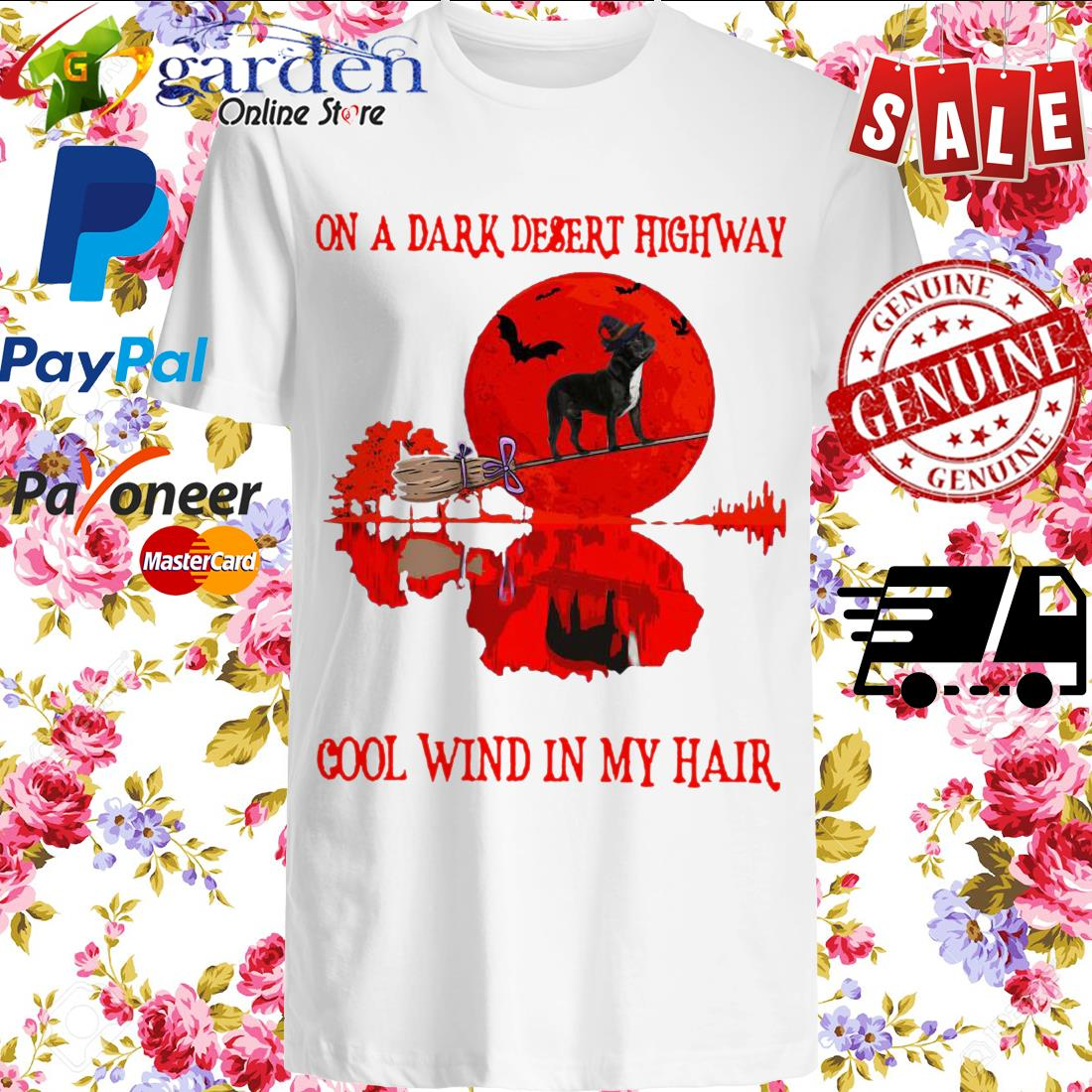 Bull on a dark desert highway cool wind in my hair Halloween shirt