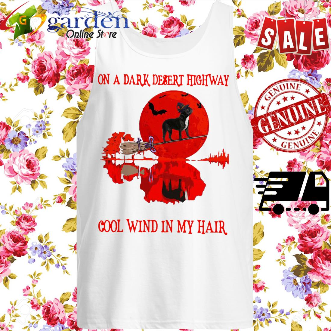 Bull on a dark desert highway cool wind in my hair Halloween tank top