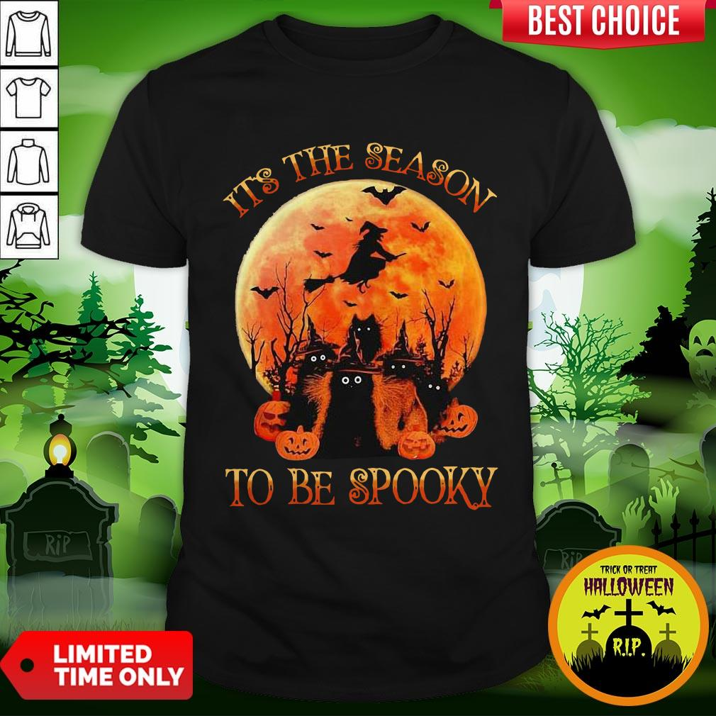 Cat It's The Season To Be Spooky Moon Halloween Shirt