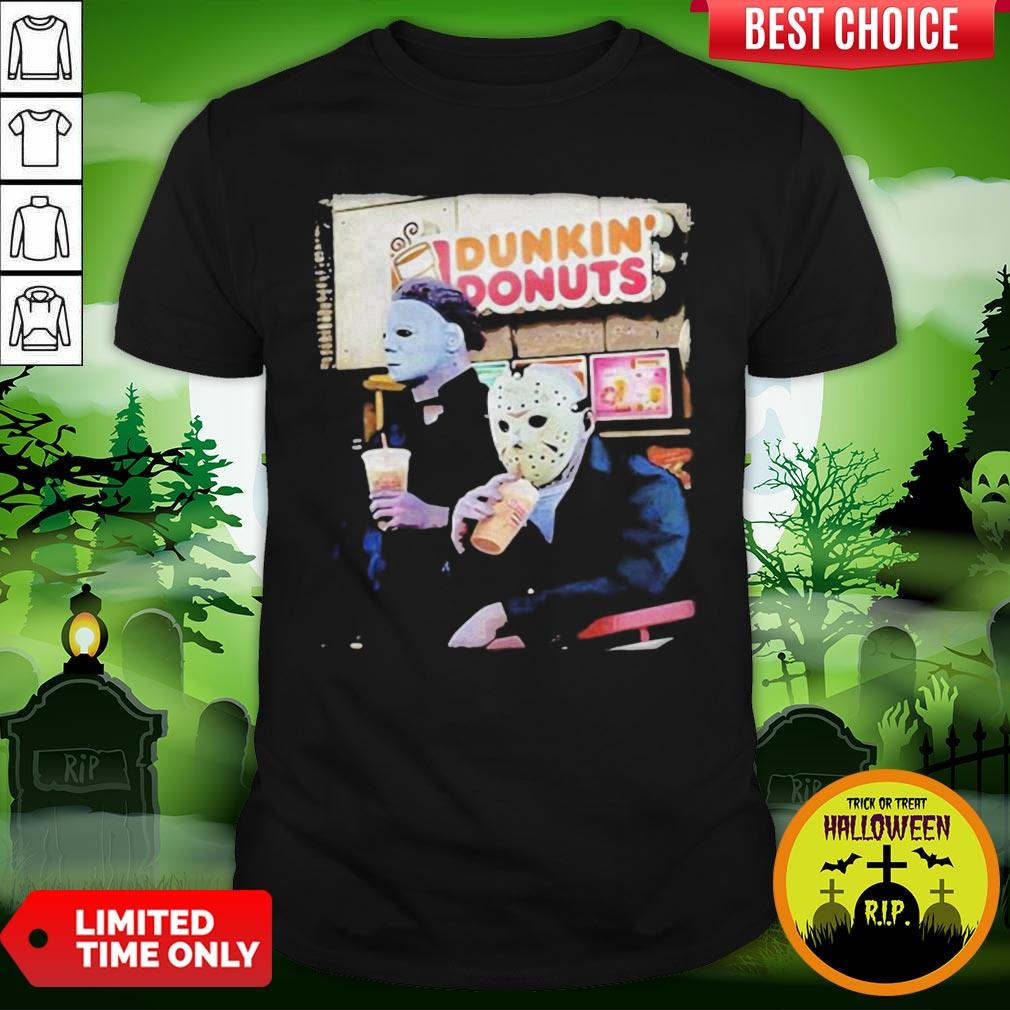 Cute Halloween Horror Characters Drinking Dunkin Donuts Shirt