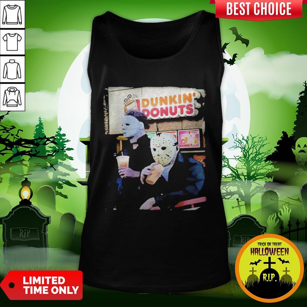 Cute Halloween Horror Characters Drinking Dunkin Donuts Tank Top