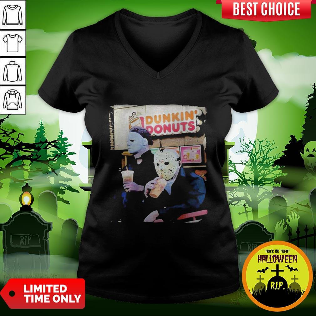 Cute Halloween Horror Characters Drinking Dunkin Donuts V-neck