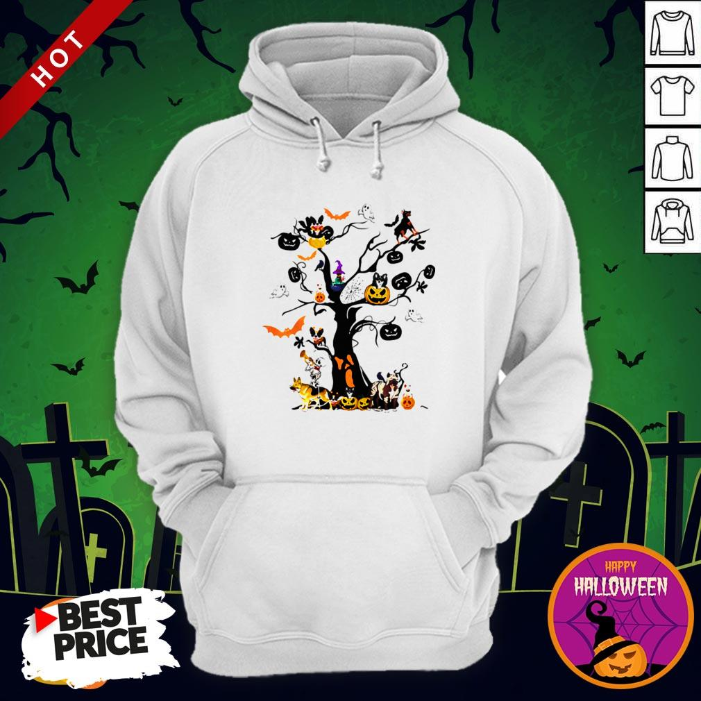 Cute Halloween Tree Dogs Pumpkins Ghost Bats Hoodie