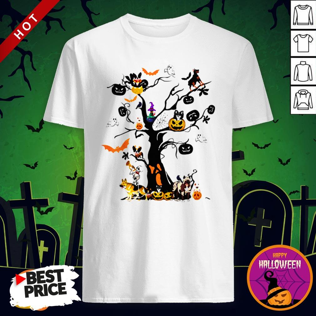 Cute Halloween Tree Dogs Pumpkins Ghost Bats Shirt