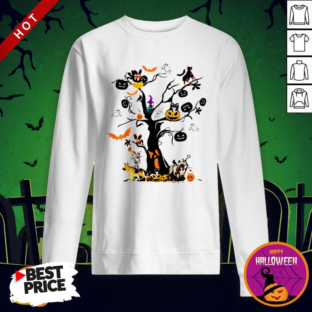 Cute Halloween Tree Dogs Pumpkins Ghost Bats Sweatshirt