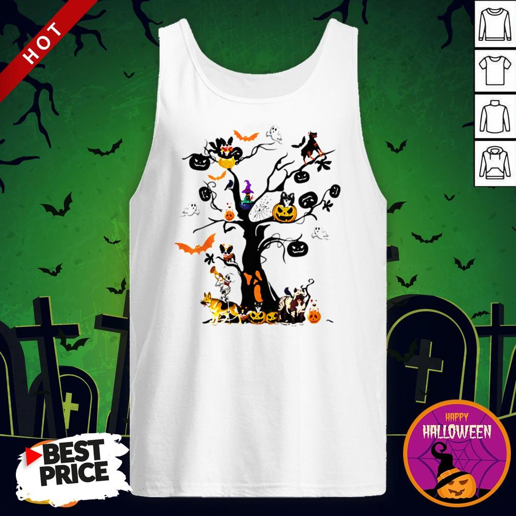 Cute Halloween Tree Dogs Pumpkins Ghost Bats Tank Top