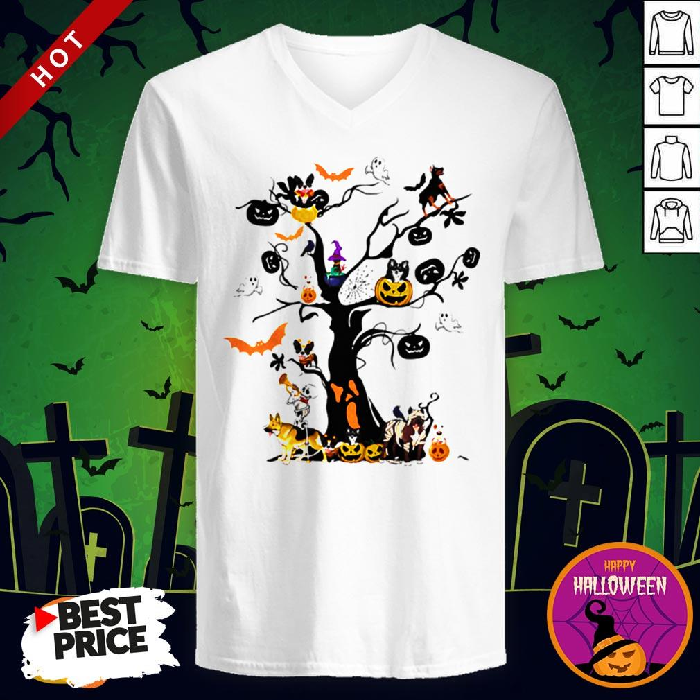 Cute Halloween Tree Dogs Pumpkins Ghost Bats V-neck
