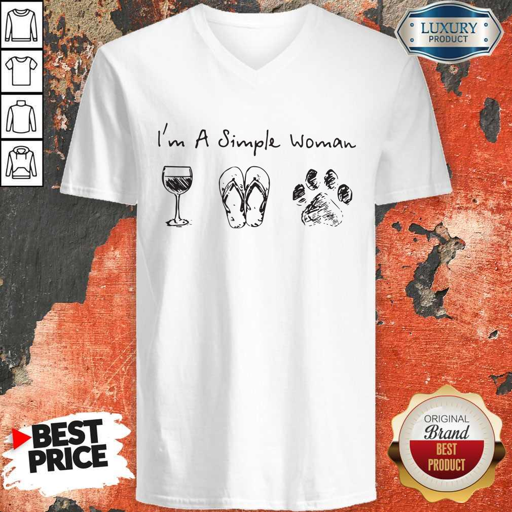 Cute I'm A Simple Woman Wine Flip Flop Dog Paw V-neck
