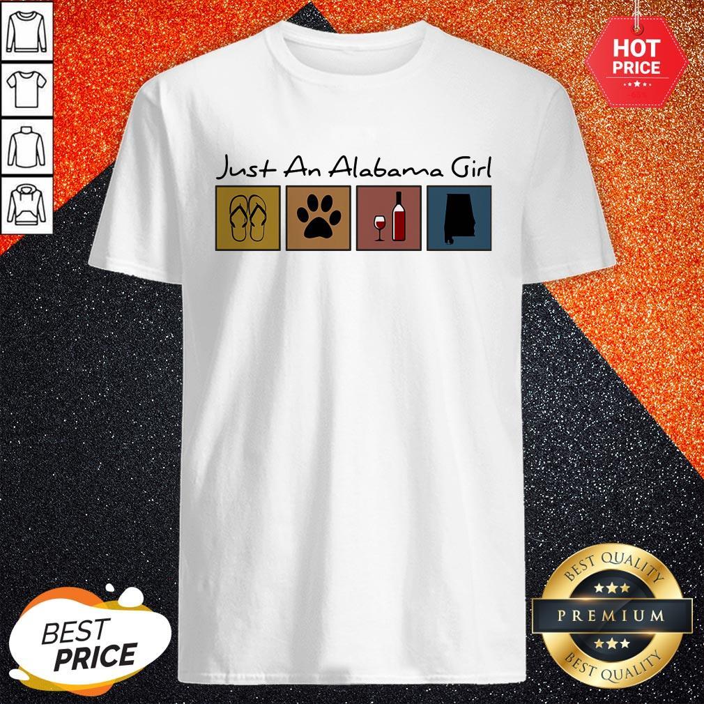 Cute Just An Alabama Girl Flip Flop Cat Paw Wine Shirt